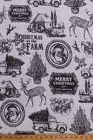 Home Decor Duck Fabric Nostalgic Christmas Santa Claus Pine Trees Barns Bells Reindeer Old Trucks Cabin Holiday Motif on Off-White 46