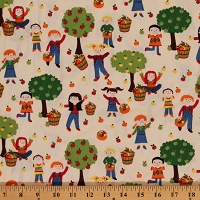 Cotton Children Autumn Apple Trees Fall Leaves Kids Cotton Fabric Print by the Yard (GAIL-C2650)