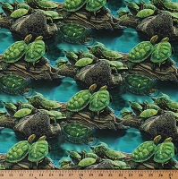 Cotton Turtle Pond Reptile Green Animals Swimming Water Stream Logs Cotton Fabric Print by the Yard (JQ-0034-9C)