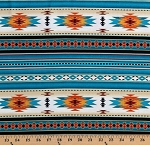 Cotton Southwest Tuscon Metallic Aztec Turquoise Cotton Fabric Print by the Yard (M201TURQUOISE)