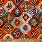 Cotton Southwest Southwestern Native American Aztec Tribal Hexagons Multicolor Cotton Fabric Print by the Yard (PWSL046-TERRA)