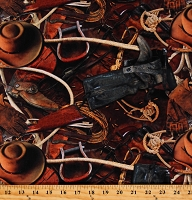 Cotton Cowboys Cowboy Boots Spurs Hats Rope Lassos Guns Stirrups Gloves Western Sun Up to Sun Down Rust Cotton Fabric Print by the Yard (S4834-39RUST)
