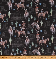 Cotton Horses Western Ranch Signs Cactus Desert Cowboy Black Cotton Fabric Print by the Yard (52451D-1)