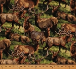 Cotton Elkmont Ridge Packed Elk Animal Cotton Fabric Print by the Yard 55745-A620715