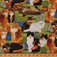 Cotton Feline Fine Cats Kittens Pets Animals Plants Cotton Fabric Print by the Yard (80152)