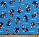 Cotton Sonic the Hedgehog Gotta Go Fast Kids Blue Cotton Fabric Print by the Yard (AXX-73950-4-BLUE)