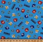 Cotton Sonic the Hedgehog and Friends Gotta Go Fast Kids Video Games Blue Cotton Fabric Print by the Yard (AXX-73949-4-BLUE)