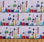 Cotton Test Tubes Chemicals Science Fair Chemistry Class School Teacher Lab Cotton Fabric Print by the Yard (SRKD-19090-392BRIGHTIDEA)