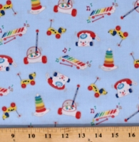 Cotton Fisher-Price Kids Toys Children's Games Playing on Blue Cotton Fabric Print by the Yard (C9762-BLUE)