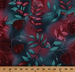 Cotton Large Scale Floral Hearts Leaves Magenta Turquoise with Silver Metallic Shimmer Valentines 58