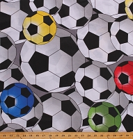 Cotton Soccer Balls Sports Soccer Games Grey Cotton Fabric Print by the Yard (865D-9D)