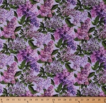 Cotton Lilacs Flowers Floral Allover Chelsea Blue Purple Cotton Fabric Print by the Yard (DP23058-82)