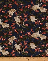 Cotton Mandolin Cranes Birds Asian Bonsai Cherry Blossom Japanese Asia Imperial Cotton Fabric Print by the Yard 20508M-49