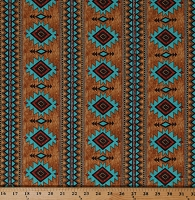 Cotton Red Rock Reflections Southwestern Southwest Western Brown Turquoise Cotton Fabric Print by the Yard (9921-35)