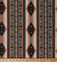 Cotton Aztec Stripe Southwestern Southwest Western Brown Green Cotton Fabric Print by the Yard (16653685)