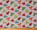 Cotton Little Cute Dragons Flying with Clouds on Gray Dragonheart Fairytale Fantasical Fantasy Creatures Cotton Fabric Print by the Yard (TP-2056-S)