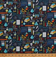 Cotton Science Mathematics Physics Biology Chemistry Equations Diagrams Lab Equipment School Subjects Teachers Education Navy Blue Big Bang Cotton Fabric Print by the Yard (22498-49NAVY)