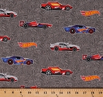Cotton Hot Wheels Cars Logos Racecars on Gray Cotton Fabric Print by the Yard (C9750-Gray)
