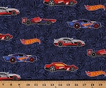 Cotton Hot Wheels Cars Logos Racecars on Navy Blue Cotton Fabric Print by the Yard (C9750-Navy)