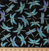Cotton Dragonfly Dragonflies Insects Animals Black Cotton Fabric Print by the Yard (FUN-CM7946)