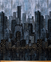 Cotton City Skyline Downtown Night Busy City Lights Black Cotton Fabric Print by the Yard (23956-99)