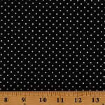 Cotton Swiss Polka Dots Spots Spotted White on Black Cotton Fabric Print by the Yard (C670-110-BLACK)