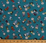 Cotton Peanuts Comics Characters Charlie Brown Snoopy Lucy Linus Gangs All Here Kids Teal Cotton Fabric Print by the Yard (68129-ZJ50715)