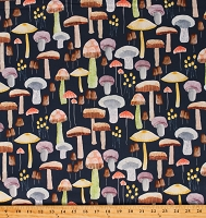 Cotton Mushrooms Food Toadstools Mellow Mushrooms Blue Cotton Fabric Print by the Yard (DDC9/68-NAVY-D)