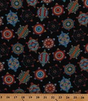 Cotton Beaded Turtles Native American Tribal Beadwork-Look Turtles on Black Tucson Southwestern Cotton Fabric Print by the Yard (526BLACK)