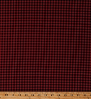 Cotton Red Black Plaid Tiny Checks Checkered Squares Buttermilk Winter Cotton Fabric Print by the Yard (2289-88)