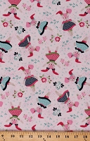 Cotton Bunnies Rabbits in Dresses Cute Pink Boho Blooms Cotton Fabric Print by the Yard (4969-27)
