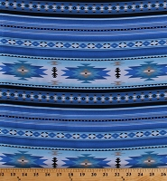 Cotton Southwestern Native American Aztec Tucson 201 Blue Stripes Southwest Patterned Cotton Fabric Print by the Yard (201BLUE)