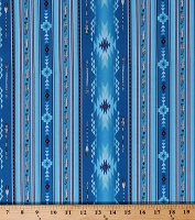 Cotton Southwestern Native American Aztec Blue Stripes Feathers Arrows Southwest Patterned Native Spirit Cotton Fabric Print by the Yard (530BLUE)