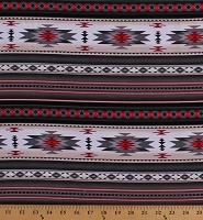 Cotton Southwestern Native American Aztec Tucson 201 Gray Black Red Stripes Southwest Patterned Cotton Fabric Print by the Yard (201GRAY)