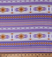Cotton Southwestern Native American Aztec Tucson 201 Lavender Cream Stripes Southwest Patterned Cotton Fabric Print by the Yard (201LAVENDER)