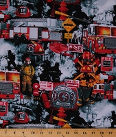 Cotton Firefighters Firemen Fireman Fire Department Fire Engines Rescue Heroes Multi-Color Cotton Fabric Print by the Yard (FIRE-C7731-BLACK)