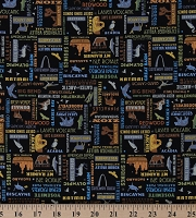 Cotton United States National Parks Names Animals Words on Black Cotton Fabric Print by the Yard (C8784-BLACK)
