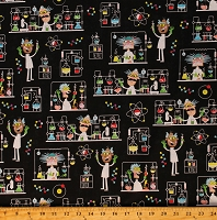 Cotton Science Laboratory Academic School Mad Scientist Black Cotton Fabric Print by the Yard (DC9/14-BLAC-D)