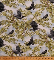 Cotton Crow Crows Raven Bird Birds Animals Wildlife Nature Trees Sky Green Blue Born Free Cotton Fabric Print by the Yard (112-32011)