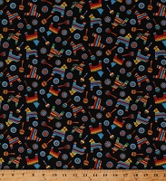 Cotton Fiesta Pinata Maracas Party on Black Cotton Fabric Print by the Yard (9379-99)
