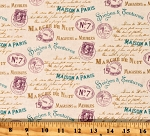 Cotton Vintage Stamps Mailing Letters Paris Writing Postage Cotton Fabric Print by the Yard (Vintage Stamps RN-52460)