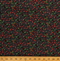 Cotton Strawberries Cherries Fruit Strawberry Cherry White Polka Dot on Black Cotton Fabric Print by the Yard (113068-CA1220)