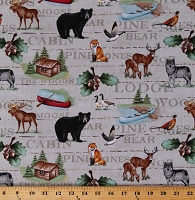 Cotton Northwoods Lodge Words Animals Bears Deer Wolf Wolves Geese Foxes Pheasants Wildlife Hunting Cabins Canoes Lake Effects Cotton Fabric Print by the Yard (9817-41)