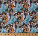 Cotton Aladdin Princess Jasmine Rajah Disney Characters Packed Kids Multi-Color Cotton Fabric Print by the Yard (67834-A620715)