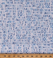 Cotton Dog Words Dog Descriptions Dogs Paws Whiskers and Tails Blue and White Cotton Fabric Print by the Yard (AYI-17980-4-Blue)