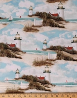 Cotton Lighthouses Keepers Ocean Boats By the Peaceful Shore Multicolor Cotton Fabric Print by the Yard (04213-Multi)