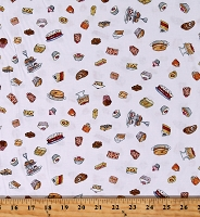 Cotton Desserts Cakes Cupcakes Pies Pastry Pastries Brownies Food Garden Party White Cotton Fabric Print by the Yard (Y2738-1-White)