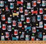 Cotton Cute Cats Kittens Kitties in Knitted Sweaters Yarn Balls Knitters Knit Together Cotton Fabric Print by the Yard (07871-12)