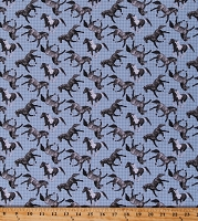 Cotton Horses Animals Galloping on Houndstooth Running Free Equestrian Blue Gray Cotton Fabric Print by the Yard (4962-79)