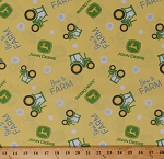 Cotton Tractors Farms John Deere Farming Green Yellow Born To Farm Toss Cotton Fabric Print by the Yard (66231-A620715)